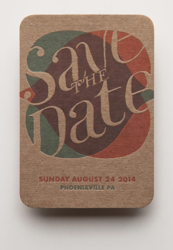 The front of the postcard -- two interlocking hearts inscribed with a big hand-lettered Save the Date.