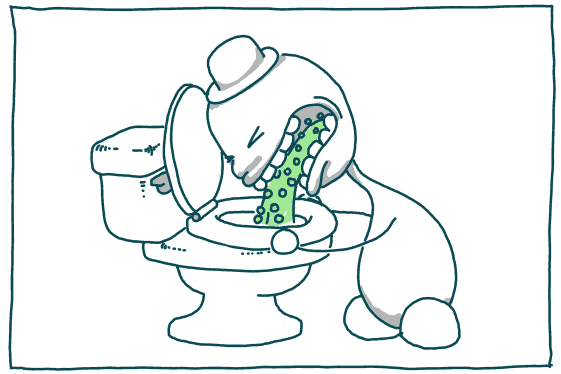 little man barfing peas into toilet