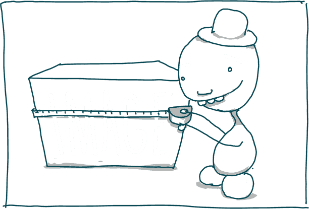 little man cutting a block that says 'IMAGE' to size