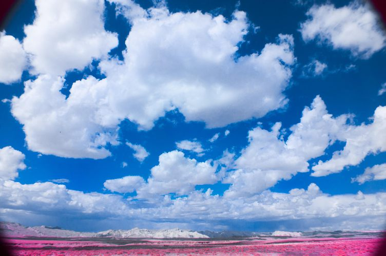 Clouds, sky, pink desert floor