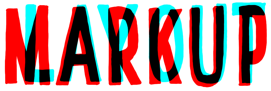 "The words ""MARKUP"" and ""LAYOUT"" written on top of one another in red and cyan."