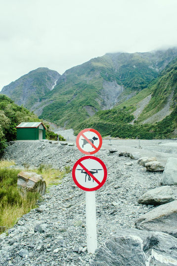 Sign up near the top of the glacier. No dogs and no drones.